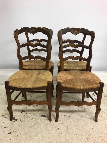 Great Set Four Vintage French Dining Chairs - ha113
